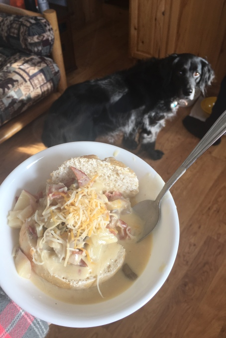 Potato Soup to warm us up.